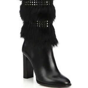 Burberry Marlington Leather Mink Fur Knee Boots